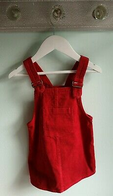 Girls Trendy Red Cord Pinafore Dress By Next Size 2-3 Years Christmas