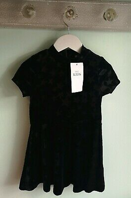 Girls Smart Black Velour Star Party Christmas Dress Outfit By M&S Size 3-4 Years