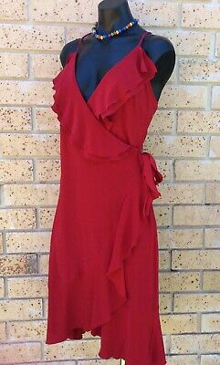 PURPLE PATCH Vintage 90s Dress 10 Bright Red Wrap Around Party Disco Retro NWT