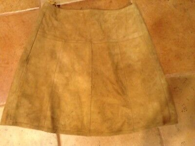 Vintage Tan Suede Skirt Made In France for Myer Size 12