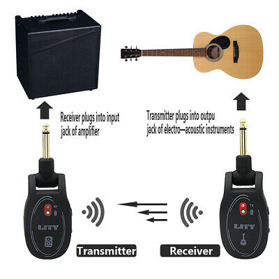 Wireless Guitar System  Rechargeable Wireless Guitar Transmitter Receiver