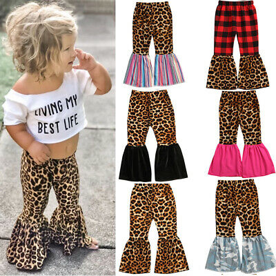 Toddler Baby Girl Clothes Leopard&Plaid Flared Legging Pants Bottom Trouser 1-6Y