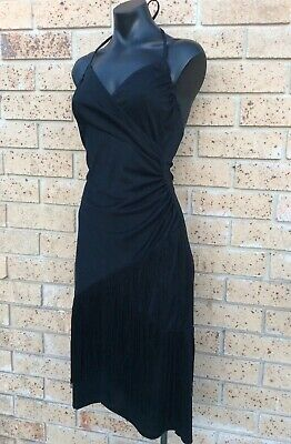 Vintage 70s Halter Dress 10 Black Flared Fringe Dance Disco Cocktail Party Dress