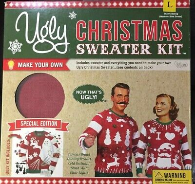 Special Edition Red Ugly Christmas Sweater Kit Large Unisex Men L or Women M NIB