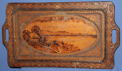 Antique Hand Made Pyrography Landscape Wood Serving Tray
