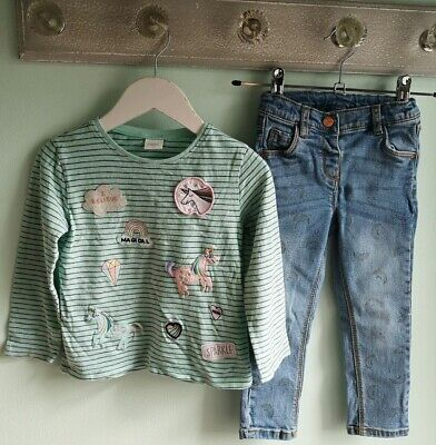 Girls Cute Rainbows & Unicorns Top & Jeans Outfit By Next Size 2-3 Years