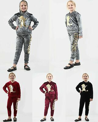 Girls Velour Hooded Unicorn Dab Tracksuit Kids Top&Bottom Set Velvet Lounge Wear