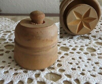 Primitive Antique Vintage Wood Butter Mold Small Mini Press BUTTERMOLD PRESS