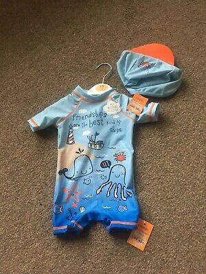 Bnwt Baby Boys 2 Piece Sun Protection Set Swimsuit Age 3-6 Months George UPF