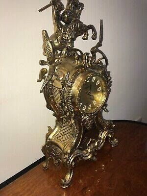 Antique Westclox Ornate Large Gold Mantel Clock Knight Horse Eagles Fish Rococco