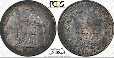 1914-A French Indo-China 10 Centimes Cents PCGS MS62