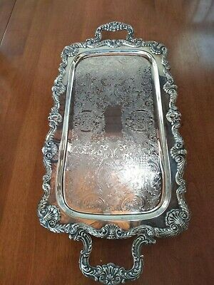 BEAUTIFUL Vintage Leonard Silver Plate Large Footed Serving Tray With Handles