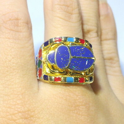 Royal Scarab sterling 925 silver ring new ancient Egyptian Egypt band cool gift