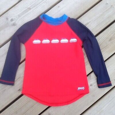 Zoggs top boys swim, surf, rash UV top, sailing boats red blue age 4-5 years
