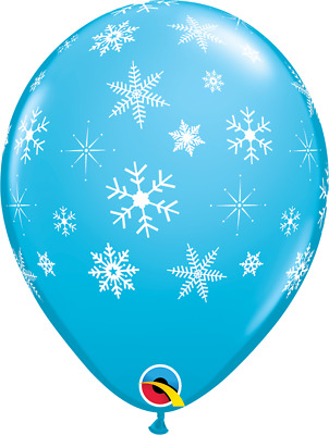 """Qualatex 11"""" Robin's Egg Blue Snowflakes Latex Balloons Christmas/Frozen  Party"""