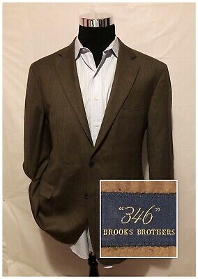 Brooks Brothers 346 Mens Wool Blazer Jacket Sport Coat Brown Houndstooth SZ 44L