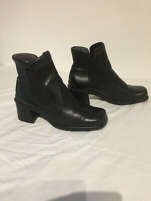 ECCO Ladies Black Soft Leather Ankle Boots Uk Size 5