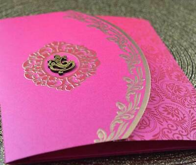 Indian Hindu Sikh Muslim Wedding Invitations with inserts, Pink Gold Traditional
