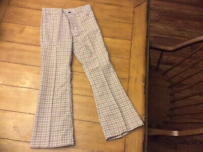 "Vintage FARAH 1970's Tan plaid Boys Flare Pants Size 7/8 24""W"