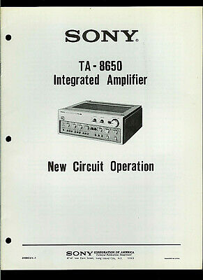 Sony TAE-8650 Stereo Preamplifier Amp Original New Circuit Operation Guide