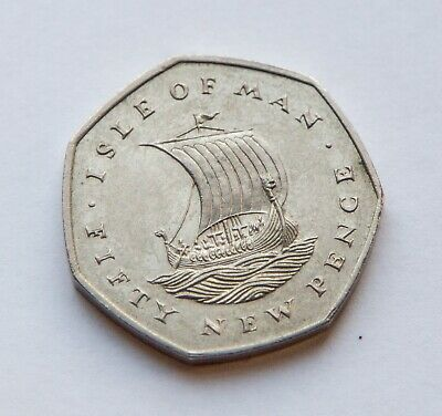 Isle of Man 1971 50p Coin, Viking Ship. Manx, Circulated