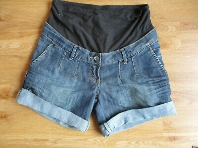 H&M Mama Maternity Blue Roll Up Over Bump Denim Jeans Shorts Size S 8-10