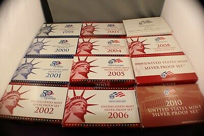 Lot of 12 United States Mint Proof Sets 3 x Proof & 12 x Silver Proof 1999-2010