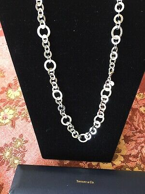 Nice Tiffany & Co Sterling Round Large Link Necklace Signed With Box