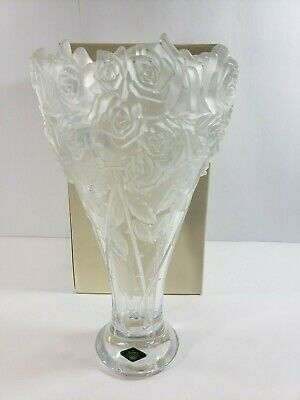 "Shannon Crystal by Godinger Rose Bouquet 14"" Vase, Art Deco, Frosted,"