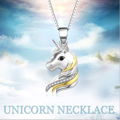 Exquisite Cute Unicorn Pendant Necklace Silver Jewelry Lssed
