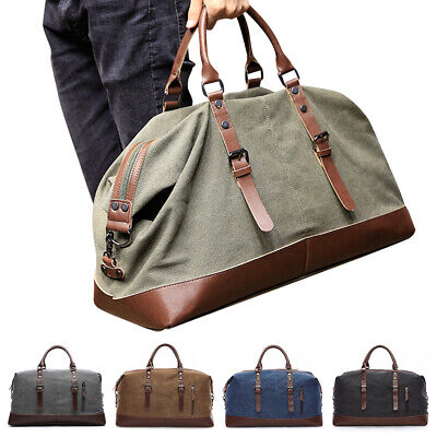 Men's Vintage Leather Large Overnight Luggage Duffle Travel Carry On Gym Bag