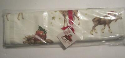 """Pottery Barn Silly Stag Table Runner NWT 18 x 108"""" - Christmas Holiday Reindeer"""