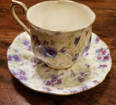 Royal Albert Limoges Bone China England Antique Floral Tea Cup and Saucer