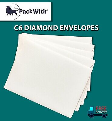 C6 Diamond Envelopes GUMMED WHITE 100gsm Plain Strong Paper
