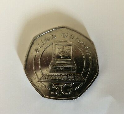 1990 ISLE OF MAN 50p COIN - DESK TOP PERSONAL PC COMPUTER - IoM MANX