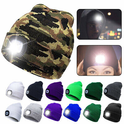 Unisex LED Beanie Hat Warm USB Rechargeable Battery High Powered Head Lamp Light