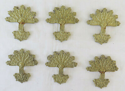 6 Fret of Bronze Golden Decoration Silhouette Bouquet Flowers Palmettes Vintage