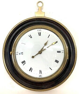 Stunning Antique Sedan Chair Wall Clock Ebonised And Brass Case