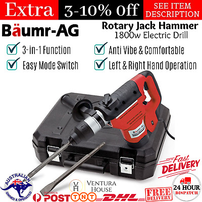Baumr AG Demolition Rotary Jack Hammer Drill 1800W 3-in-1 Anti Vibe 360 Rotating