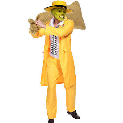 Mens Fancy Dress 90s Yellow Suit The Mask Jim Carrey Costume FAST FREE POST