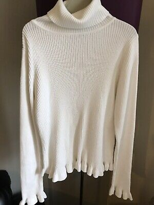 Girls Matalan Winter White Stretchy Ribbed Polo Neck Jumper Age 10 Years BNWOT