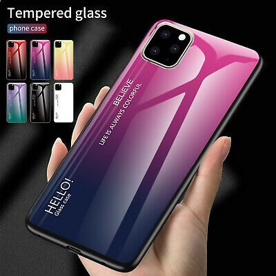 For iPhone 11 Pro Max XS XR Tempered Glass Case Hybrid TPU Shockproof Back Cover