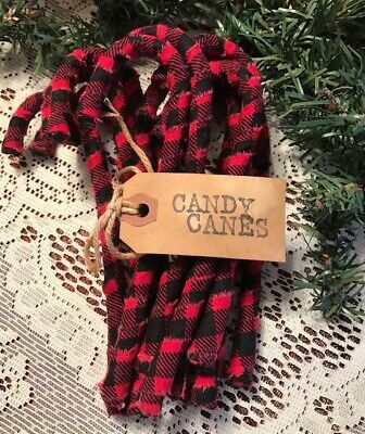 12 Primitive RED BUFFALO CHECK Fabric Candy Canes Christmas Ornaments Rustic A25