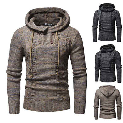 Mens Knitted Hoodies Hooded Sweaters Long Sleeve Jumpers Winter Warm Pullover