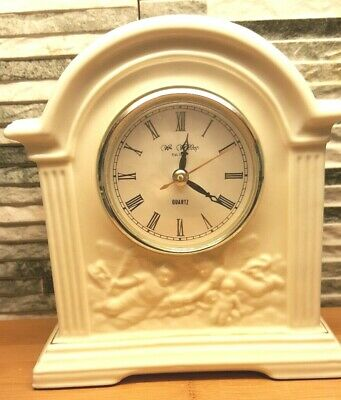 William Widdop Antique White Coloured Porcelain Mantle Clock Fully Working