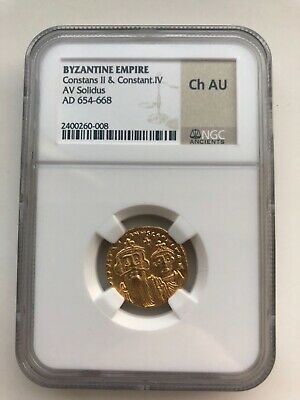 Byzantine Empire Constans II., Constantine IV. solidus 654-668 AD NGC certified