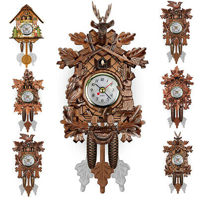 Antique Cuckoo Wall Clock Bird Time Bell Wooden Swing Alarm Watch Decor