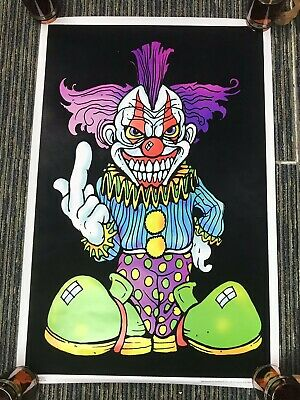 "Vtg 2001 Evil Scary Clown Thinking Of You Flocked Blacklight 35""x23"" Poster USA"