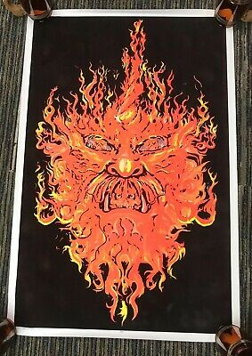 "Vtg Fire Demon Evil Flame 1998 Flocked Blacklight 35""x23"" Poster Jerry Jasper B"