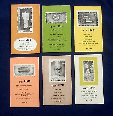 Six 1969 India Commemoration Stamps in Folders - Including Man on the Moon